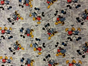NEW! MICKEY MOUSE and MINNIE MOUSE -Vintage Very Rare - Fabric 100% Cotton - Price Per Metre
